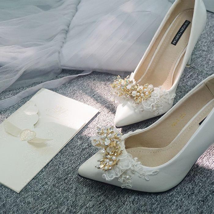 Modern Fashion Ivory Wedding Shoes 2019 Leather Appliques Pearl Rhinestone 10 Cm Stiletto Heels Pointed Toe Wedding Pumps Ivory Wedding Shoes Wedding Pumps Wedding Shoes