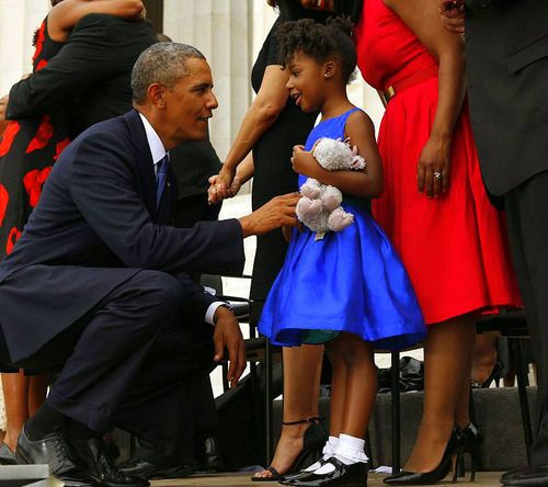 President Obama saying hello to Dr. Martin Luther King, Jr.'s grand daughter, Yolanda Renee King, age 5 y.o.