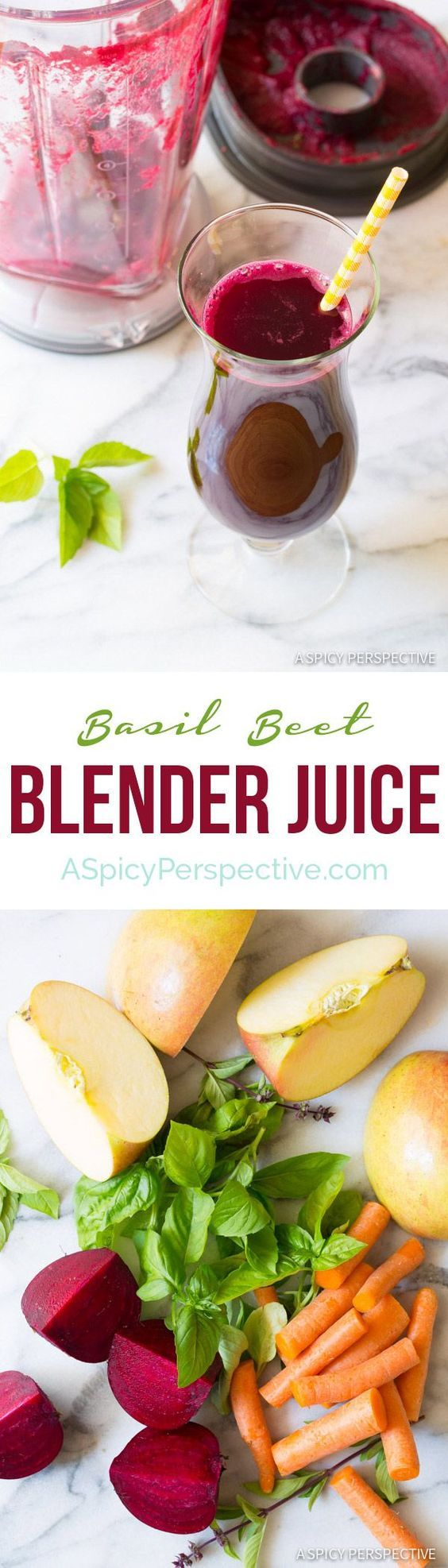 Fresh raw and vibrant Basil Beet Juice Recipe! 5 ingredients and a whole lot of goodness go into each glass. Make this healthy juice recipe without a juicer