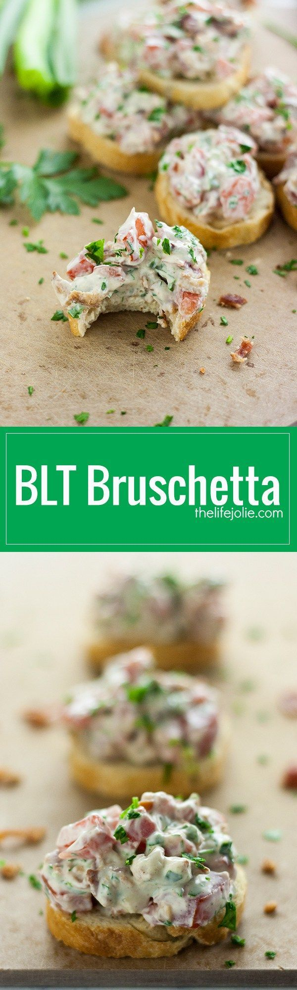 This BLT Bruschetta recipe is the perfect dish-to-pass for a last minute get together, party or game day celebration. Tomatoes, bacon, parsley and green onions come together in a creamy mixture and are spread atop crispy slices of baguette. This delicious