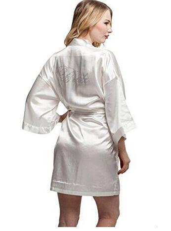 Seda de la manera Mujeres Corto Satén de dama de Honor de Novia Bata Sexy Kimono Robes ropa de Dormir Camisón Vestido de Mujer Albornoz Pijamas