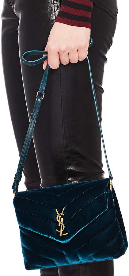 cbc2d9201b Saint Laurent Toy Velvet & Leather Monogramme Loulou Strap Bag ...