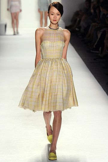 Honor, Spring 2012 #honor #spring2012 #dress #plaid #pattern #yellow