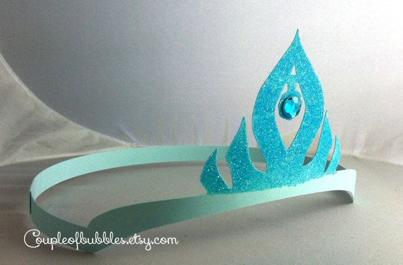 Frozen crowns set of 9 Elsa and Ana look alike crowns in 3 colors with glitter and jewels perfect for birthday parties, costumes, dress up on Etsy, $13.50