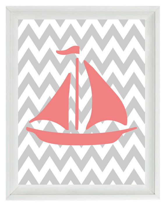 Gray Chevron with Blue Boat: Sailboat Beach Nautical Chevron Art Print Set - Pink Gray Nursery Girl Room  - Wall Art Home Decor  8x10. $15.00, via Etsy.