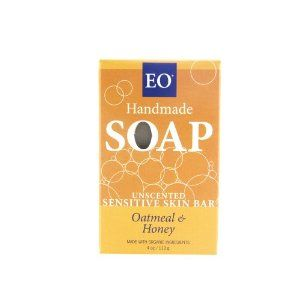 EO Unscented Sensitive Skin Bar Soap, Oatmeal & Honey, 4-Ounces (Pack of 3) by EO. $14.97. Organic Ingredients. Benefits All Skin Types. Be mindful of what you put on & in your body.  Choose wisely.  EO is a CCOF Certified Organic Organic Manufacturer.. Naturally Anti-bacterial. USDA Organic, Vegetarian, Cruelty Free, No Artificial Fragrance, Non-GMO