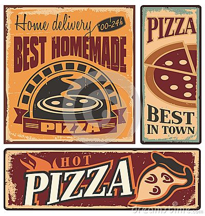 Retro Metal Signs Set For Pizzeria