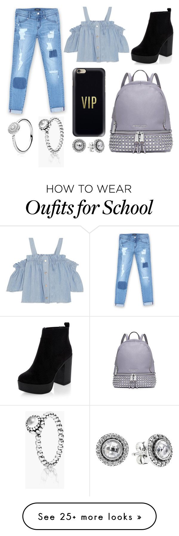 """""""School Day"""" by susanna-trad on Polyvore featuring Bebe, Steve J & Yoni P, Michael Kors, Casetify and Pandora"""