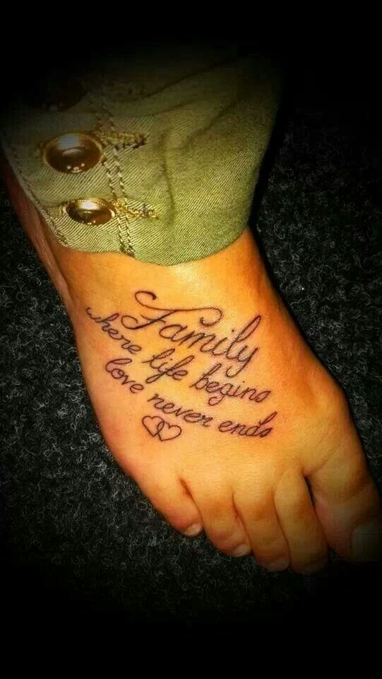 Family Where Life Begins Love Never Ends Tattoos