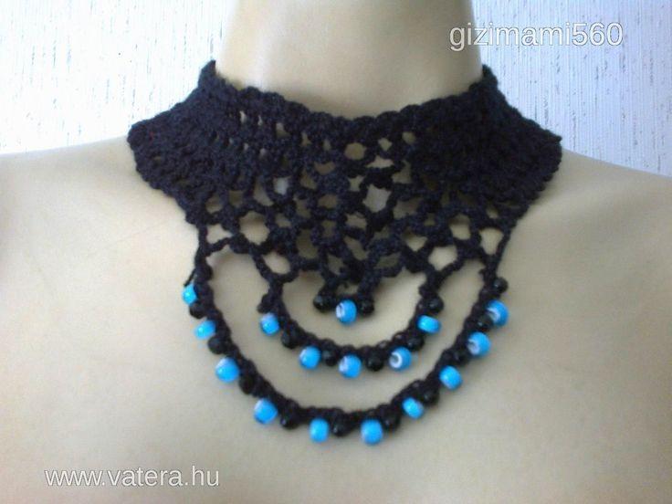 Fekete horgolt nyak- és karékszer kék gyöngyökkel - 6000 Ft - Nézd meg Te is Vaterán - Szett, garnitúra - http://www.vatera.hu/item/view/?cod=2363770313