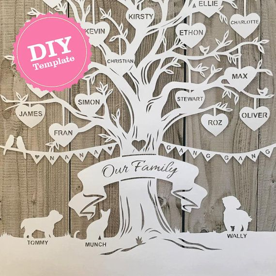 DIY Family tree papercutting template. Papercut your own beautiful family tree for a special gift