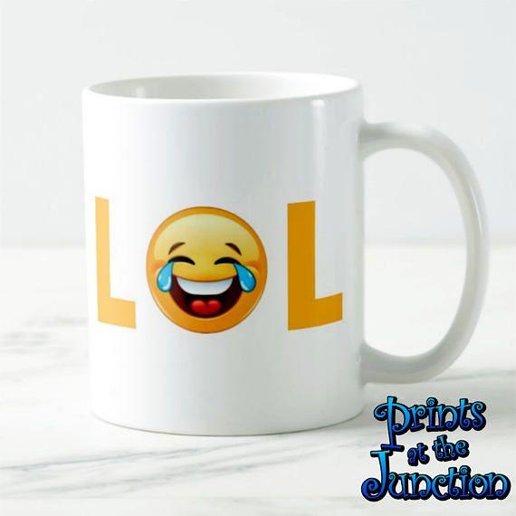 Emoji LOL Mug/Laughing Out Loud Emoji Mug Gift/Laughing Crying Emoji Mug/Funny,  Happy Emoji Coffee Lovers Mug