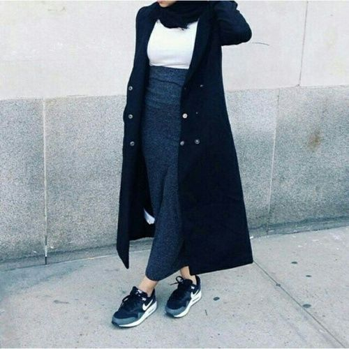 Styles to Wear Hijab with Skirts in Current Fashion