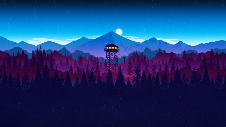 Firewatch video game art minimalism simple 1080p
