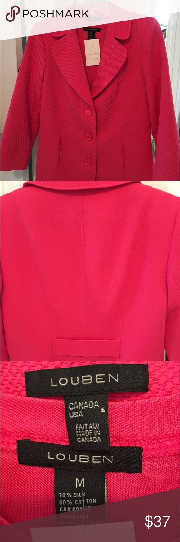 Louben Ladies summer jacket Pink with silk tee-6 Louben Ladies summer jacket Pink with silk tee-Sz 6 the tee has short sleeves....The jacket has long sleeves and is slightly longer than the other style - Beautiful shocking pink color Louban Jackets & Coats Blazers