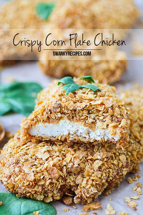 Crispy Corn Flake Chicken  The ultimate moist and crispy chicken recipe my family has been using for years.  Chicken breasts marinated in seasoned sour cre