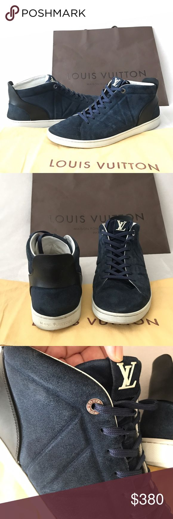 Authentic Louis Vuitton Men's Fuselage Sneakers Authentic Rare Louis Vuitton Blue Fuselage High Top Sneakers. They are composed of suede calf Leather and features smooth calf leather trim Louis Vuitton V on the side, LV on the tongs. UK size 9 1/2, fits US 10- 10 1/2. Very good used condition. They come with dust bag and paper bag Louis Vuitton Shoes Sneakers