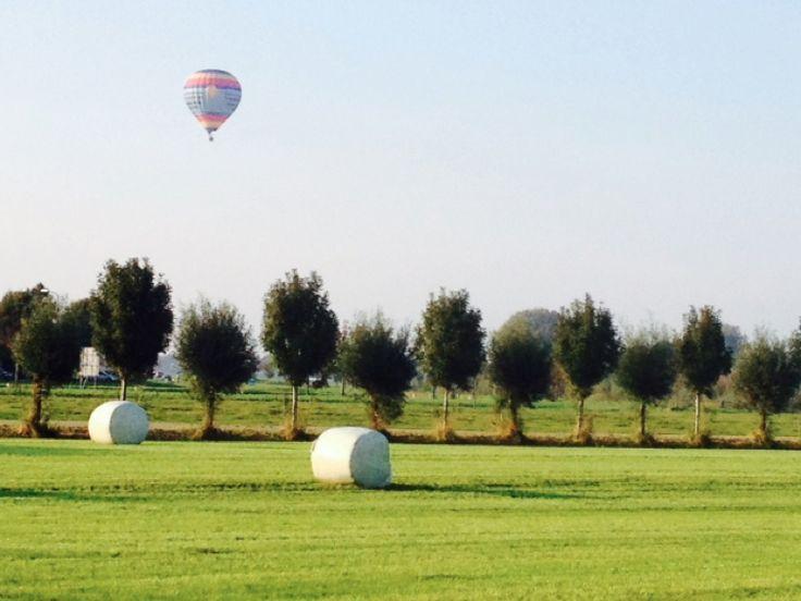 Vrijdag 3 oktober Opeens stijgt er een luchtballon op als ik naar huis fiets. Veldje in Houten