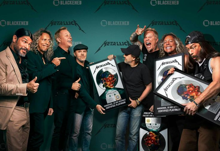 "Blackened Recordings executives are seen here presenting platinum awards to Blackened Recordings artists Metallica commemorating sales of one million units in the United States of their November album release ""Hardwired…To Self-Destruct.""  Photo at Nassau Coliseum, New York on May 17, 2017.  Photo by Finlay MacKay."