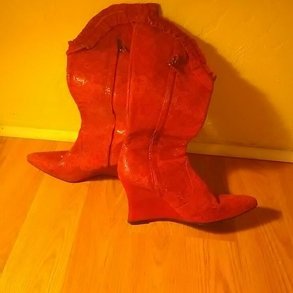 Diesel Boots! Cool and very uniq!  boot.red. Lace. Ankle wedges suede lace. Made in Spain! Booties. Almost never worn Diesel Shoes Wedges