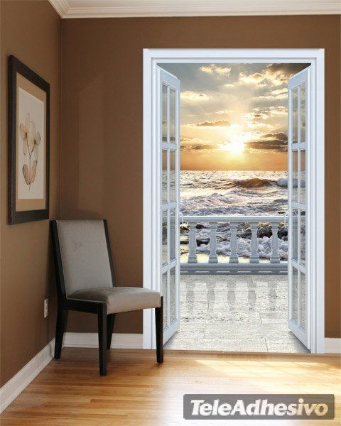 Wall Decal Trompe Lu0027oeil Of An Open Balcony At A Luxury Beach Shores
