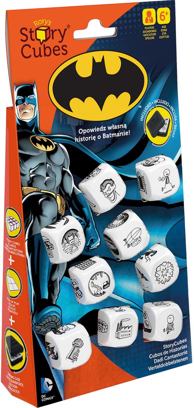 9 kości, 54 obrazy, nieskończona ilość opowieści o Batmanie!. Oto prosta w założeniach i jednocześnie genialna gra, która dostarczy wam masę radości, stanowiąc przy tym doskonały trening pomysłowości i wyobraźni. Story Cubes to dziewięć ładnie wykonanych, sześciennych kostek, z których każda zawiera na ściankach odmienny zestaw ilustracji.           Rzuć 9 kostkami, na których znajdziesz 54 obrazki ściśle powiązane...