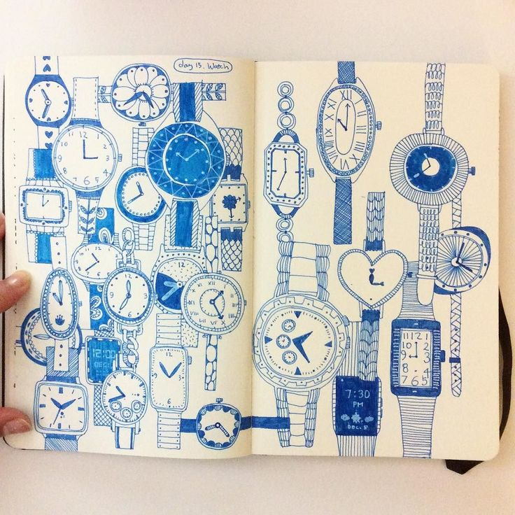 I had to fill the other page #CBDrawADay #creativebug #doodle #linedrawing #sketchbook #watch by hee_cookingdiary