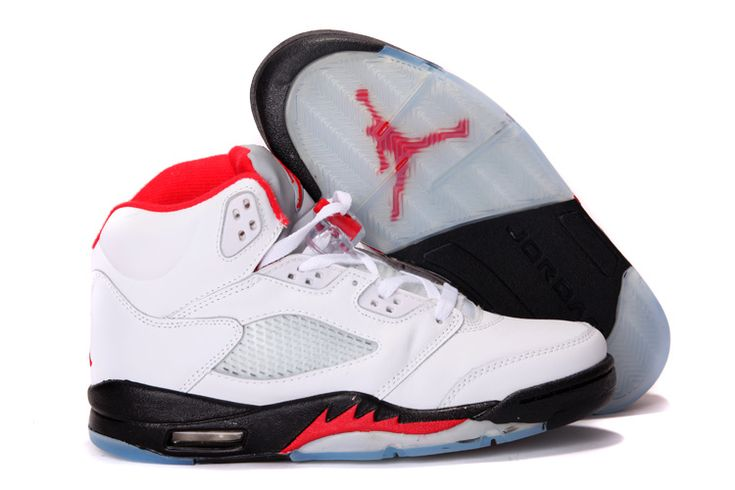 Air Jordan 5 Retro White Black Fire Red Basketball Shoes