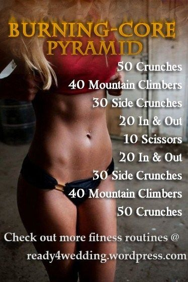 Get fabulous and outstanding abs with this Burning Core Pyramid Abs workout.  It is intense but will chisel your abs in no time.  Don't forget to also clean up your eating habits.  TAGS:  ab workout, hard core, trim your tummy