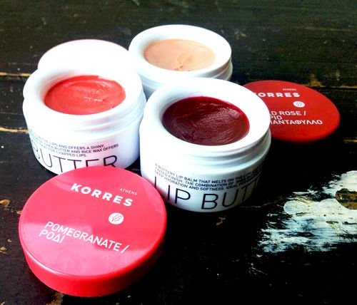 Korres lip butter in: (clockwise) Jasmine, Wild Rose and Pomegranate #Korres #Beauty #LipBalm #Balm #makeup #lipbutter