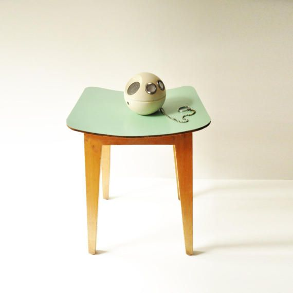 Vintage Mint Green Wooden Kitchen Stool Coffee Table Plant