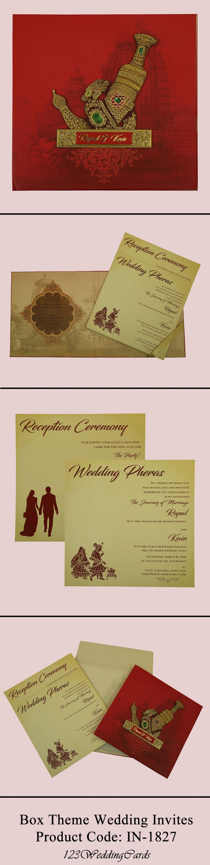 Matte paper box theme wedding invitation made