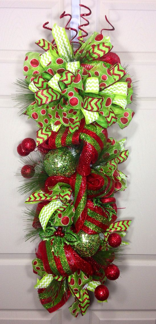 153 best wreaths swags images on pinterest deco mesh for 3 wreath door decoration
