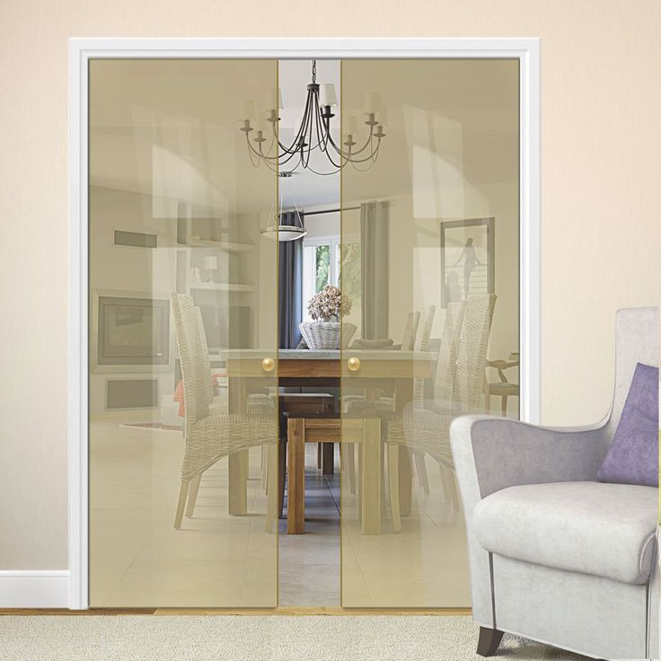 Eclisse 10mm Satin Amber Tinted Glass Double Pocket Door - 8109.    #glasspocketdoors  #doubleglassdoors  #glassdoors