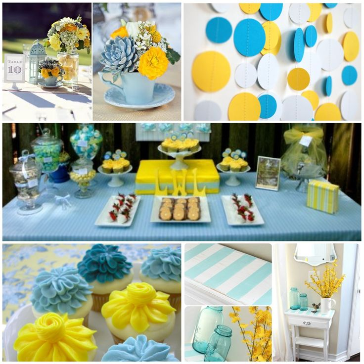 Blue and yellow wedding centerpieces color inspiration for Baby blue wedding decoration ideas