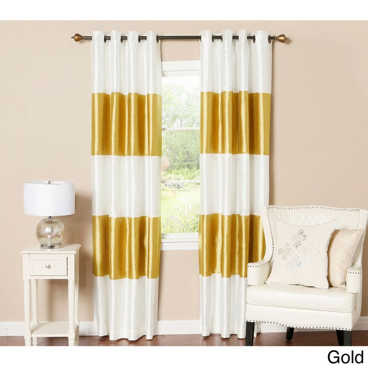 aurora home striped dupioni grommet top blackout curtain panel pair by aurora home