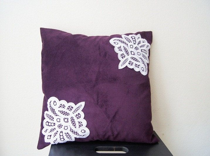 PILLOW / Purple Pillow Cover, Lace Throw Pillow, Pillow Cover Case 15% Discount Pinterest Special: PINSN15