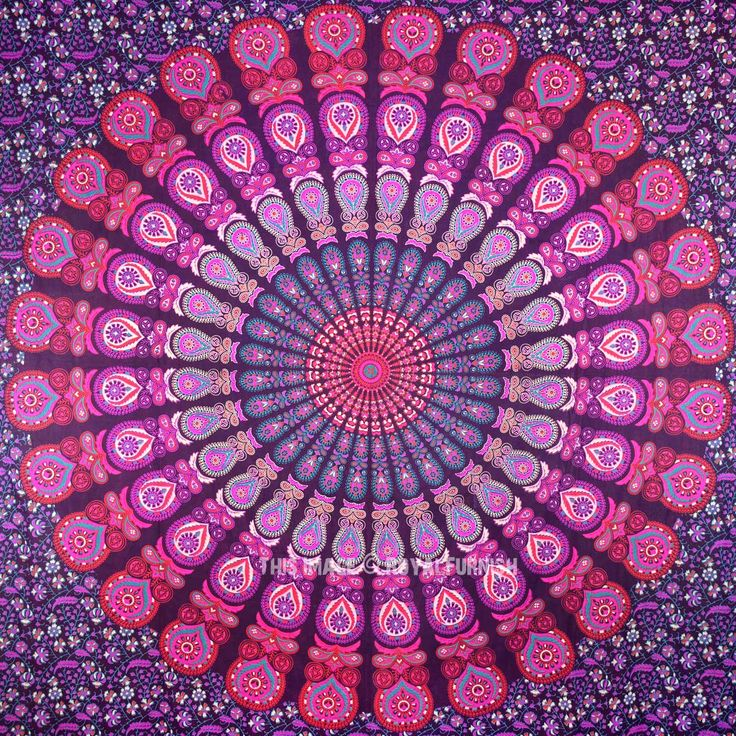 Queen Pink Purple Indian Mandala Throw Tapestry, Dorm Hippie Boho Bedspread