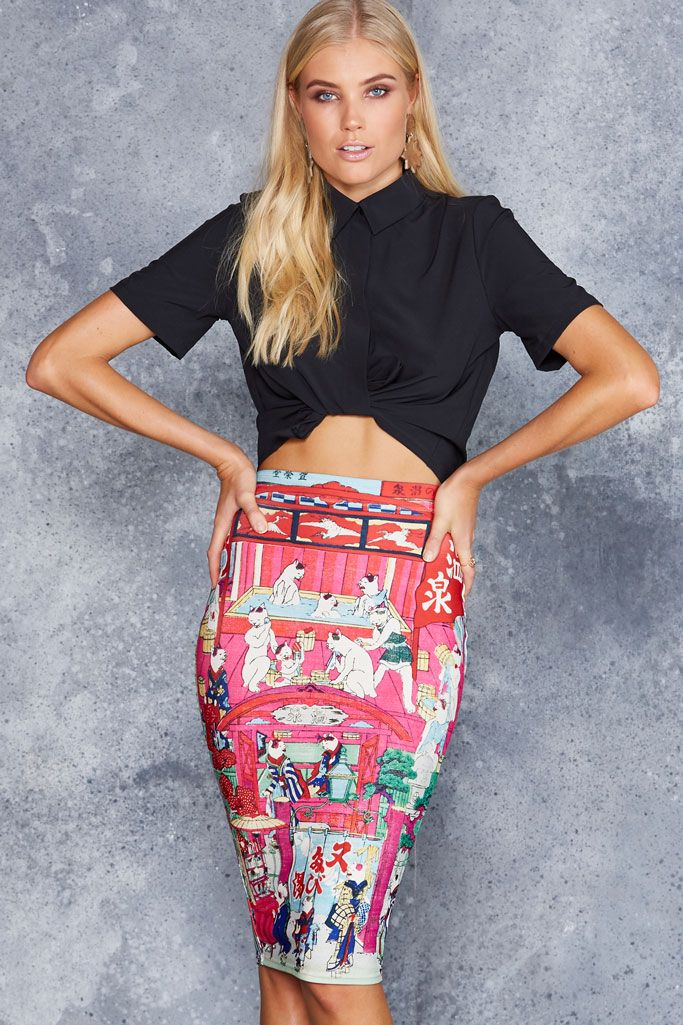 Onsen Cats Midi Pencil Skirt - 48HR ($65AUD) by BlackMilk Clothing
