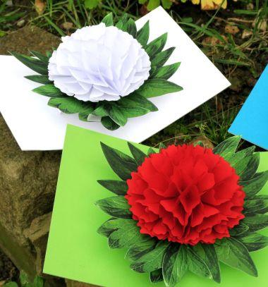 3D peony flower pop-up cards ( with free printable ) // 3D Kinyitható papír virág képeslapok ( nyomtatható sablonnal ) // Mindy - craft tutorial collection