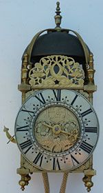 lantern clock made in the 1680s by Henry Chaple of Bridgewater, Somerset