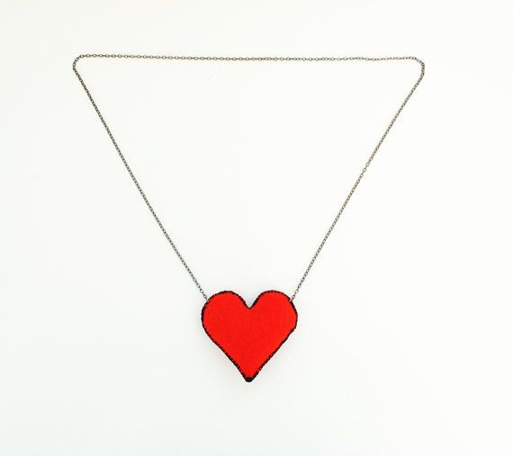 Heart necklace valentine's day gift red necklace by elfinadesign