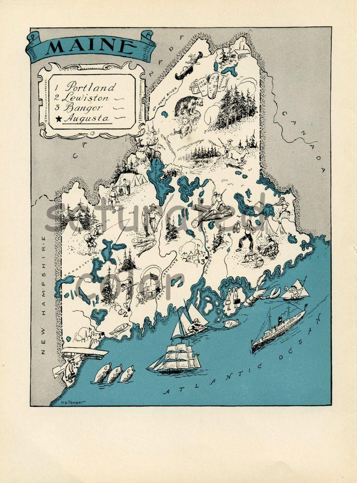 Maine Vintage Map 1930s Vintage Picture Map