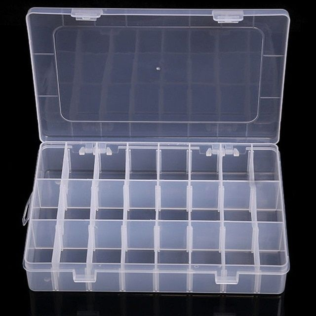 10 15 24 36 Grids Plastic Adjustable Jewelry Storage Box Organizer Transparent Beads Pills Na Storage Boxes Plastic Box Storage Storage Containers With Drawers