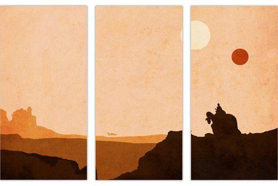 Star Wars Tatooine Leinwand Wandkunst Bilder Gerahmte Drucke Etsy Wall Art Pictures Movie Wall Art Canvas Picture Walls