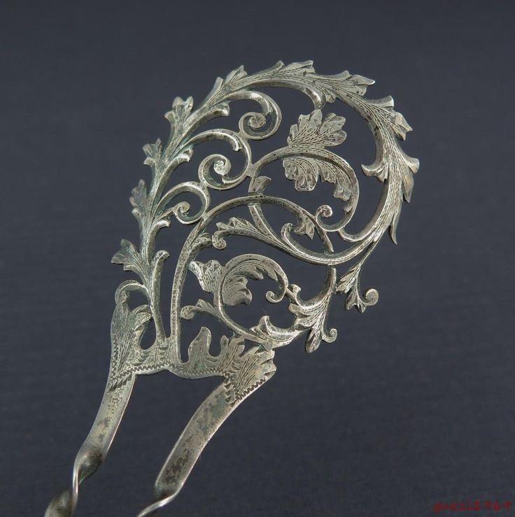 Vtg Sterling Silver Hair Comb w/ Ornate Pierced & Chased Scrolling Leaf Design | eBay