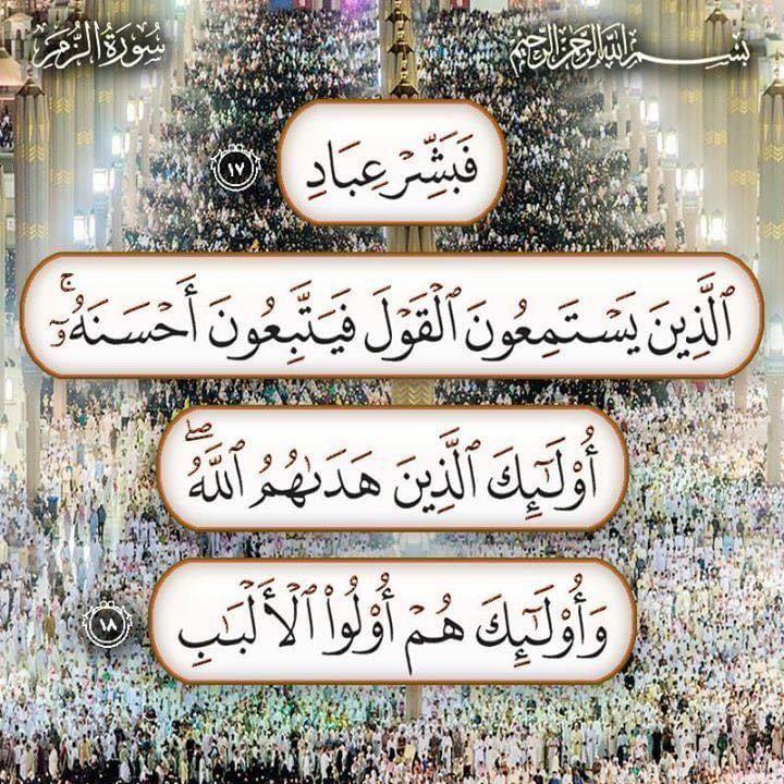 قال الله تعالى ٱل ذ ين ي س ت م ع ون ٱل ق و ل ف ي ت ب ع ون أ ح س ن ه ۥ أ و ل ئ ك ٱل ذ ين ه د ى ه م ٱلل ه Quran Verses Quran Quotes Holy Quran