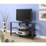 Innovex Glass TV Stand, Black. Accommodates up to 42-inch plasma screen. Stylish Tempered Glass. Wire-management. 2 Large Storage Shelves. Electroplating iron tubes.