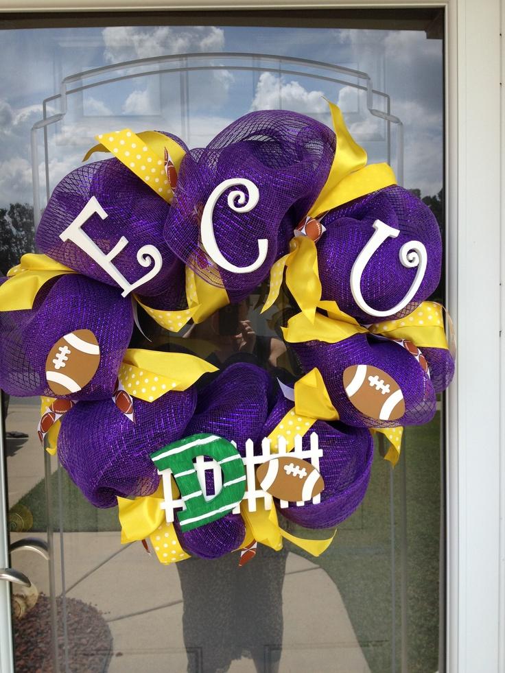 ECU Pirates Football Mesh Wreath; so going to make this before football season starts!
