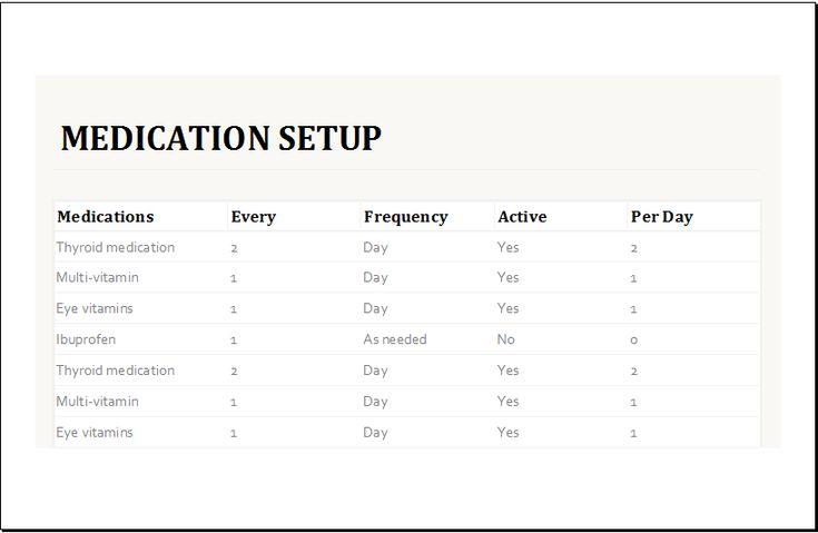 Medication Intake Schedule Template At XltemplatesOrg  Microsoft